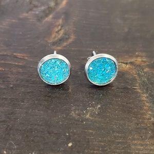 Jewelry - 💙🐠Turquoise Dream Druzy Earrings 8mm🐠💙